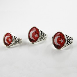 Turkish Flag Man's Ring